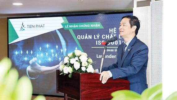 Ông Lê Viết Hải - Chủ tịch HĐQT Tập đoàn Xây dựng Hòa Bình phát biểu tại buổi lễ