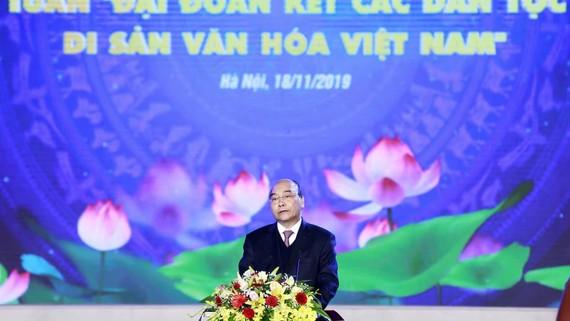 Thủ tướng Nguyễn Xuân Phúc phát biểu tại buổi lễ. Ảnh: daidoanket.vn