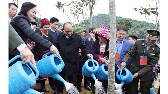 Thủ tướng Nguyễn Xuân Phúc cùng các đại biểu tham gia trồng cây. Ảnh: Thống Nhất/TTXVN