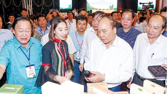 Thủ tướng Nguyễn Xuân Phúc thăm gian trưng bày các sản phẩm được chế biến từ hạt mắc ca. Ảnh: TTXVN