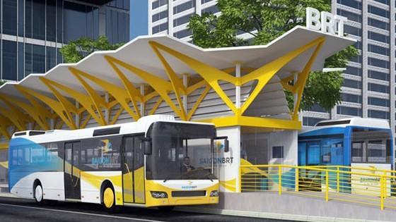 Mô hình trạm xe buýt nhanh BRT. Ảnh minh họa