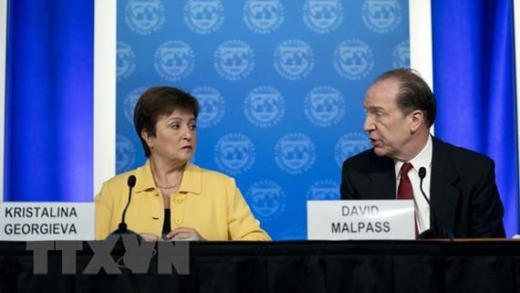 Tổng Giám đốc IMF Kristalina Georgieva (trái) và Chủ tịch WB David Malpas. Ảnh: TTXVN