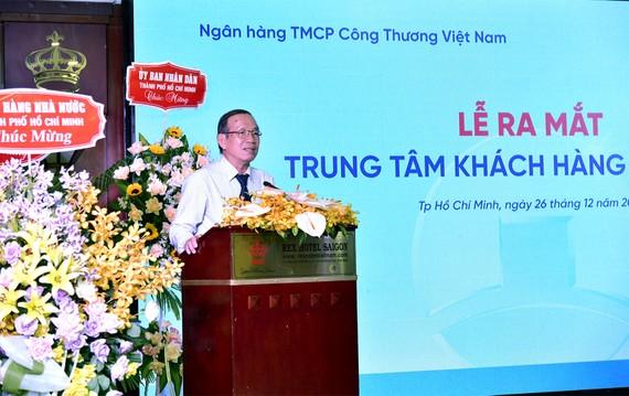 Phó Giám đốc Ngân hàng Nhà nước TPHCM phát biểu tại lễ ra mắt Trung tâm khách hàng phía Nam