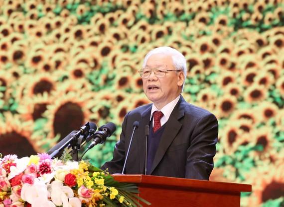 Tổng Bí thư, Chủ tịch nước Nguyễn Phú Trọng đọc diễn văn  kỷ niệm 90 năm Ngày thành lập Đảng Cộng sản Việt Nam. Ảnh: PHƯƠNG HOA - TTXVN