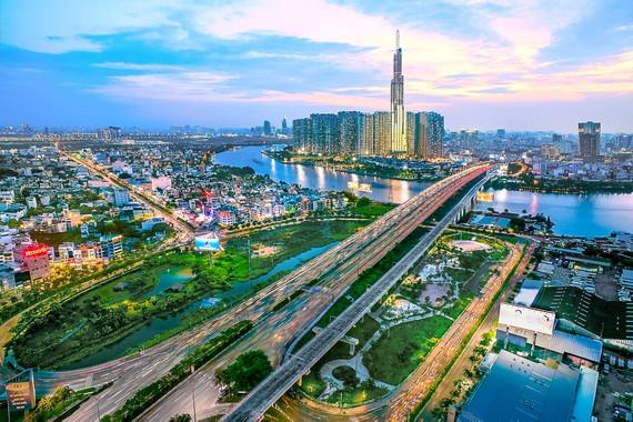 Cầu Sài Gòn 2, tòa nhà Landmark cao nhất thành phố và Khu đô thị mới Thủ Thiêm về đêm