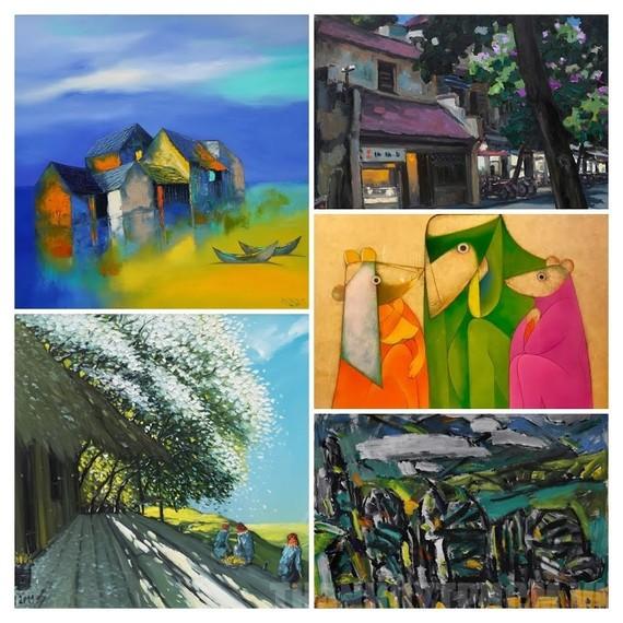 Một số tác phẩm của các họa sĩ được trưng bày tại triển lãm. Ảnh: VGP