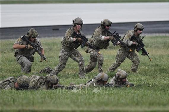Binh sĩ Mỹ tham gia cuộc tập trận tại căn cứ không quân Osan của Mỹ ở Pyeongtaek, Hàn Quốc. Ảnh minh họa: AFP/TTXVN