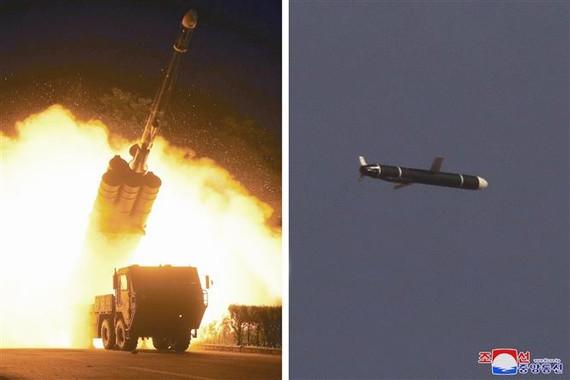Hình ảnh do Hãng thông tấn KCNA đăng phát ngày 13-9-2021 cho thấy một tên lửa đạn đạo tầm xa thế hệ mới rời bệ phóng (ảnh trái) và bay trên bầu trời (ảnh phải). Ảnh tư liệu: YONHAP
