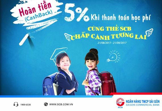Cùng thẻ SCB chắp cánh tương lai - Hoàn tiền 5% khi thanh toán học phí!