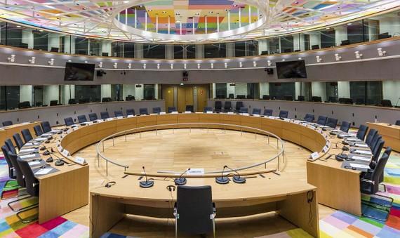 Phòng họp chính trong tòa nhà Europa ở Brussels, Bỉ. Ảnh: AP
