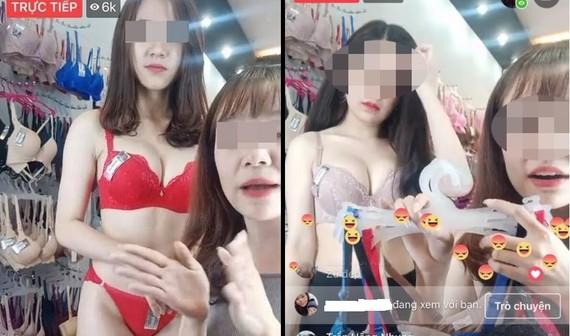 Mặc đồ lót để livestream bán hàng trên mạng xã hội.