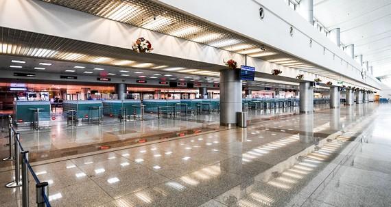 Khu vực làm thủ tục nhập cảnh tại sân bay Tân Sơn Nhất  trong tình trạng như thế này từ khi đại dịch  xảy ra.