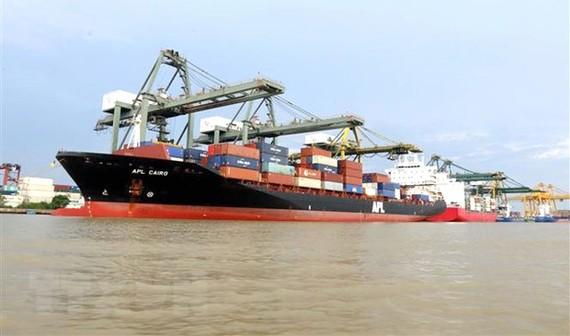 Bốc dỡ hàng hóa tại cảng Cát Lái, TPHCM.