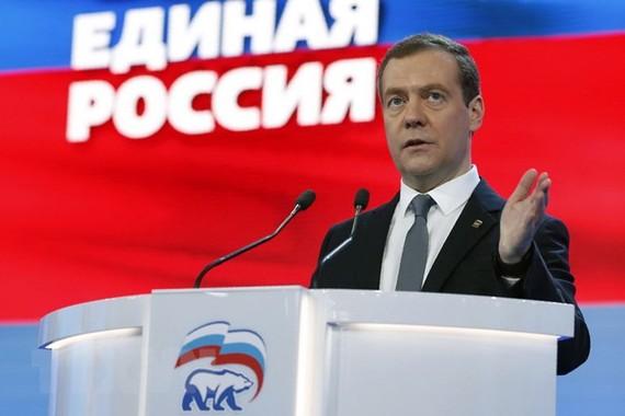 Thủ tướng Nga Dmitry Medvedev phát biểu tại Moskva. (Nguồn: AFP/TTXVN)