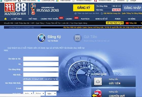 Một trang mạng hướng dẫn đăng ký tham gia cá cược các trận đấu World Cup 2018