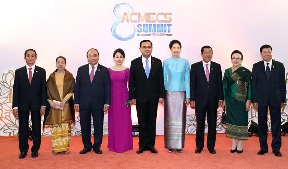 Các trưởng đoàn cùng phu nhân tham dự ACMECS lần thứ 8 và CLMV lần thứ 9