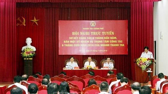 Hội nghị trực tuyến sơ kết công tác 6 tháng đầu năm và triển khai nhiệm vụ trọng tâm 6 tháng cuối năm 2018 của ngành Thanh tra. Ảnh: TTXVN