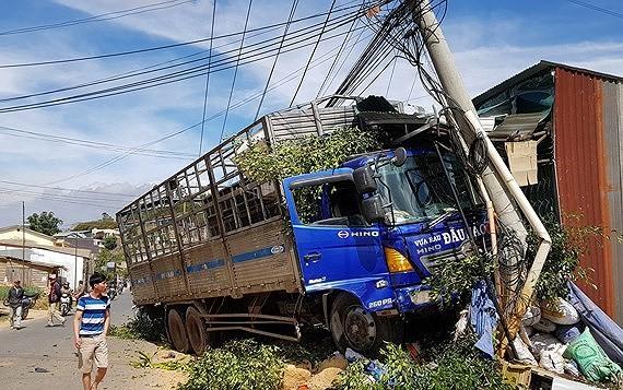 Sau khi tông sập 2 nhà dân, xe tải ủi bay dãy cây và chỉ dừng lại khi tông gãy trụ điện