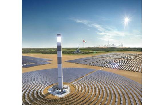 Hình ảnh mô phỏng Tòa tháp CSP Công viên năng lượng mặt trời Mohammed Bin Rashid Al Maktoum (Nguồn: DEWA)