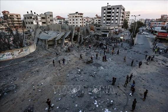 Cảnh đổ nát sau loạt không kích của máy bay Israel xuống Dải Gaza ngày 5-5-2019. Ảnh: THX/TTXVN