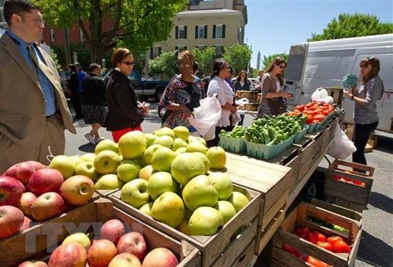 Khách hàng mua rau củ quả tại một chợ nông trại ở Washington, DC. (Ảnh: AFP/TTXVN)