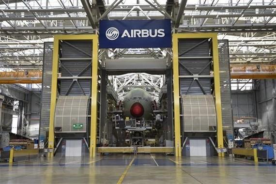 Máy bay A380 của Airbus được sản xuất tại nhà máy ở Blagnac, miền Nam nước Pháp, ngày 21/3/2018. (Nguồn: AFP/ TTXVN)