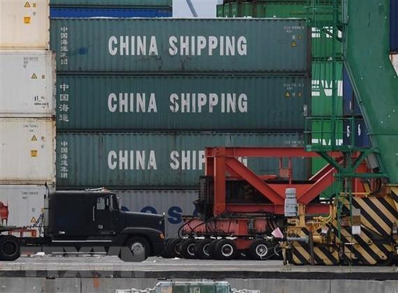 Hàng hóa Trung Quốc được xếp tại cảng ở Long Beach, California, Mỹ, ngày 10/5/2019. (Ảnh: AFP/TTXVN)