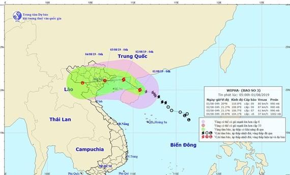 Tối nay 1-8, bão số 3 sẽ đi vào Vịnh Bắc Bộ và có khả năng mạnh thêm