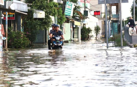 Triều cường gây ngập sâu tại khu vực cầu Phú Xuân, tiếp giáp huyện Nhà Bè và quận 7. (Ảnh: Trần Xuân Tình/TTXVN)