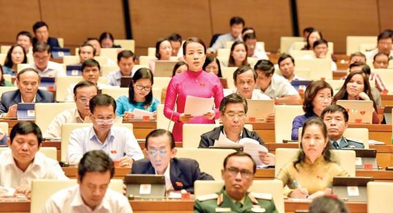 Đại biểu Nguyễn Thị Kim Thúy (Đà Nẵng) phát biểu tại phiên họp. Ảnh: VIẾT CHUNG
