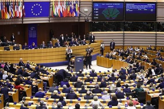 Toàn cảnh một phiên họp Nghị viện châu Âu tại Brussels, Bỉ. (Ảnh: THX/TTXVN)