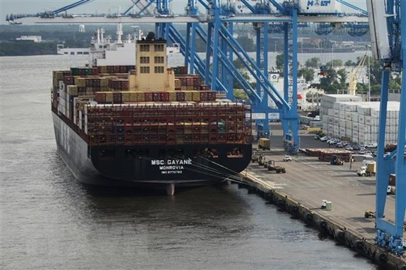Cảng biển Packer ở Philadelphia, bang Pennsylvania, Mỹ. (Ảnh: AFP/TTXVN)
