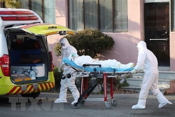 Nhân viên y tế chuyển bệnh nhân nhiễm COVID-19 lên xe cứu thương tại thành phố Daegu, Hàn Quốc ngày 21/2/2020. (Ảnh: AFP/TTXVN)