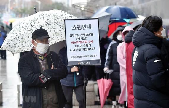 Người dân xếp hàng chờ mua khẩu trang tại Daegu, cách thủ đô Seoul của Hàn Quốc 300km. (Ảnh: THX/TTXVN)