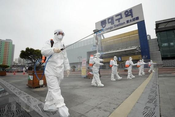 Lực lượng kiểm dịch phun thuốc khử trùng nhằm ngăn dịch COVID-19 lây lan tại Daegu, Hàn Quốc. (Ảnh: Yonhap/TTXVN)