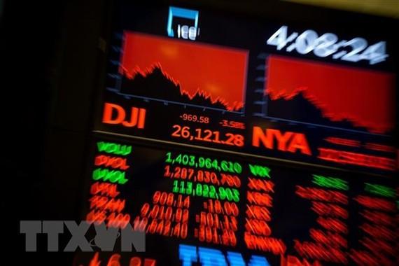 Bảng tỷ giá chứng khoán tại Sàn giao dịch chứng khoán New York, Mỹ. (Ảnh minh họa. THX/TTXVN)