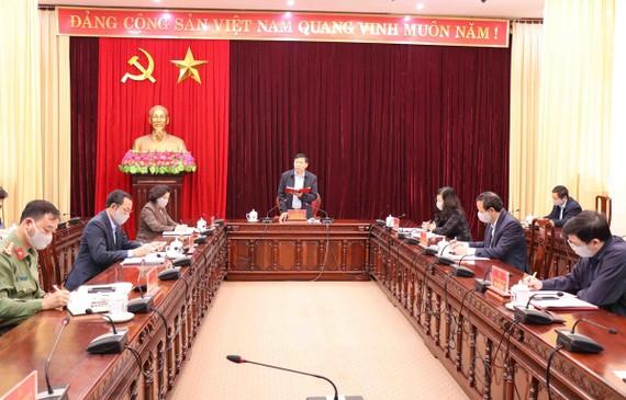 Tỉnh Bắc Ninh tổ chức cuộc họp khẩn cấp bàn các giải pháp phòng chống dịch bệnh COVID-19. (Ảnh: Thanh Thương/TTXVN)