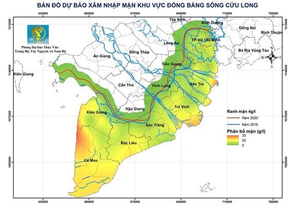 Bản đồ dự báo xâm nhập mặn khu vực Đồng bằng sông Cửu Long. (Nguồn: Trung tâm DBKTTVQG)