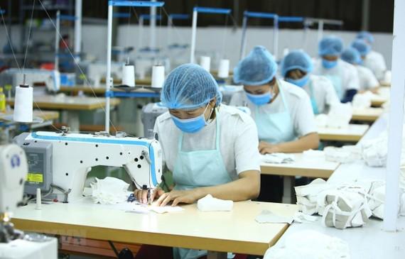 Công nhân Công ty Cổ phần Thời trang K's Closet (Hà Nội) sản xuất khẩu trang kháng khuẩn. (Ảnh: Anh Tuấn/TTXVN)