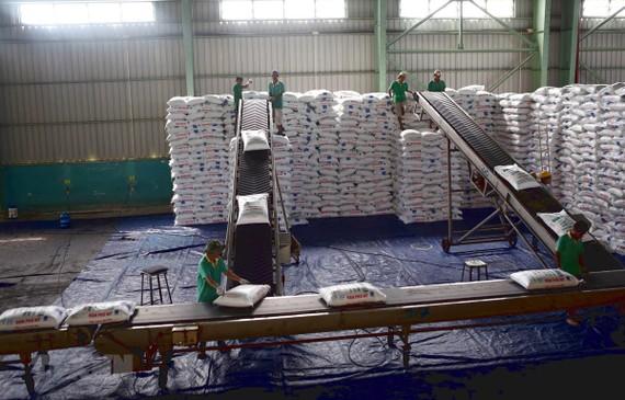 Vận chuyển đạm Phú Mỹ tại kho hàng của PVFCCo tại Cần Thơ. (Ảnh minh họa: Huy Hùng/TTXVN)