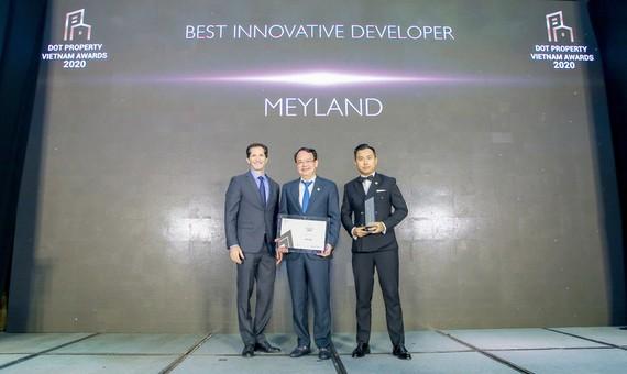 """Meyland được vinh danh là """"Nhà phát triển Bất động sản sáng tạo tốt nhất Việt Nam 2020 - Best Innovative Developer Vietnam 2020""""."""