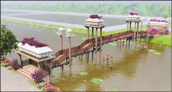 Công trình cầu kiều với chất liệu chủ yếu là gỗ bắc qua kênh tại cổng vào chính của khuôn viên tràm.