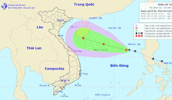 Vị trí và hướng di chuyển của vùng áp thấp - Ảnh: Trung tâm Dự báo khí tượng thủy văn quốc gia