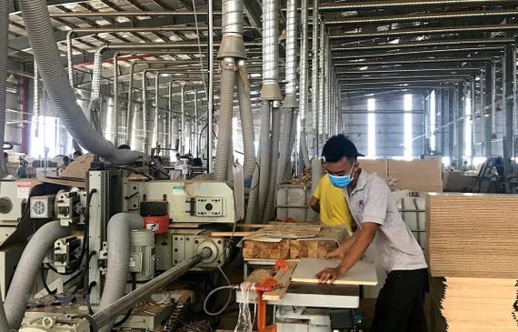 Sản xuất đồ gỗ tại Công ty TNHH MTV Triệu Phú Lộc, thị xã Tân Uyên, Bình Dương. (Ảnh: Chí Tưởng/TTXVN)
