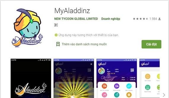 Ứng dụng Myaladdinz trên Google Play. (Ảnh chụp màn hình)