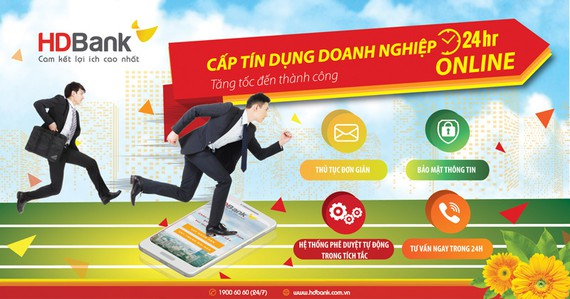 Doanh nghiệp vay tín dụng online 24/7 tại HDBank