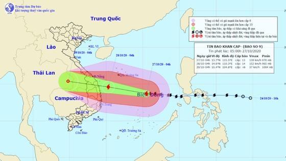 Vị trí và đường đi của bão số 9. Ảnh: TTDBKTTVTƯ