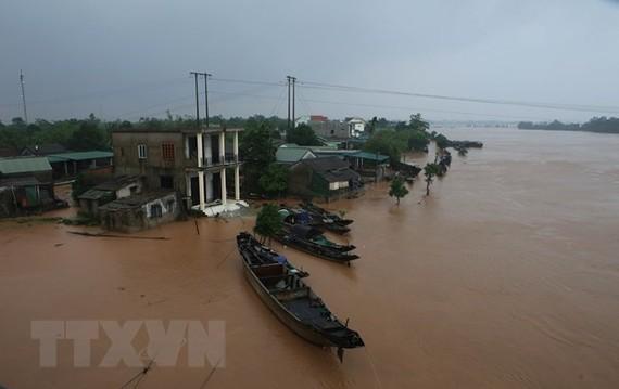 Nhà dân ở hai bên bờ sông Thạch Hãn bị ngập lụt. (Ảnh: Hồ Cầu/TTXVN)