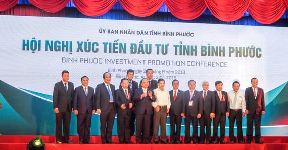 Thủ tướng Nguyễn Xuân Phúc dự Hội nghị xúc tiến đầu tư tại Bình Phước năm 2018.