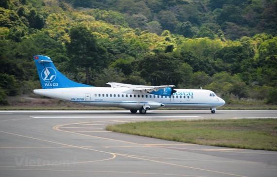 Tàu bay ATR72 của hãng hàng không VASCO. (Ảnh: Việt Hùng/Vietnam+)
